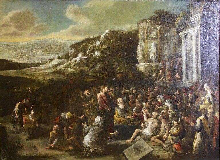 Antique, decorative oil painting, 18th century. Christian scene.