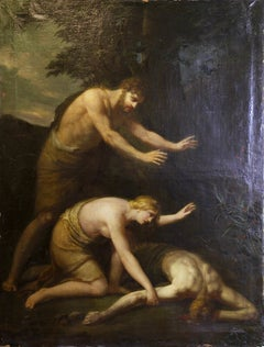 "Antique, decorative oil painting, 19th century. ""The slain Abel"""