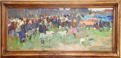 """The village assembly"" 1961 Russian art Oil Painting. Landscape."