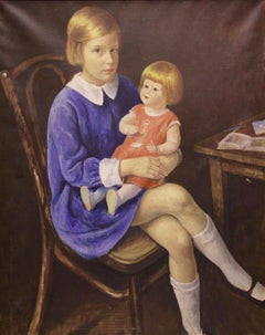 "Imre Goth, 1893-1982, Hungary, ""Little lady with doll"" Oil on canvas circa 1931"