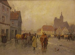 "Georg Koch 1857-1936, ""At the horse market"" Oil on canvas circa 1900"
