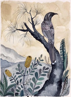 Wattle Bird with Casuarina and Coastal Banksia by Sally Browne.