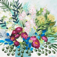 Paper Daisies and Protea 1 by Clair Bremner. Acrylic on canvas. Ready to hang.