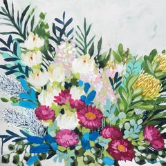 Paper Daisies and Protea 2 by Clair Bremner. Acrylic on canvas. Ready to hang.