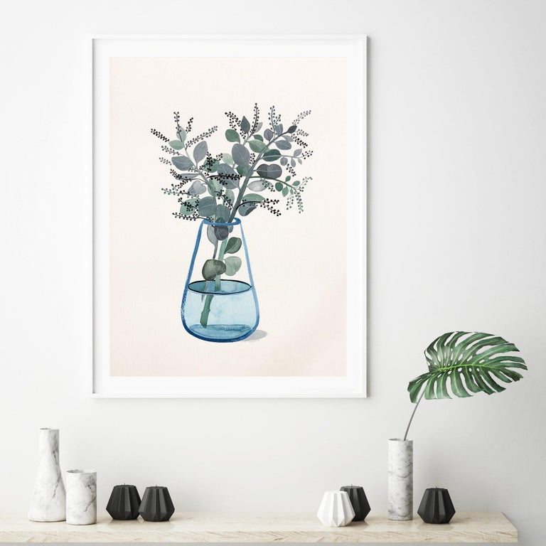 Sally Browne Seeded Eucalyptus In Turquoise Glass Vase By Sally
