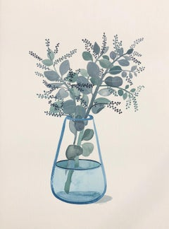 Seeded Eucalyptus in Turquoise Glass Vase by Sally Browne. Watercolour on Paper.