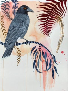 Currawong Song by Sally Browne. Gouache on Paper.