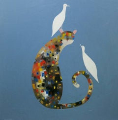 Cat with Two White Doves - One of my very best