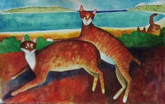 Two Cats in tropical landscape
