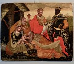 Nativity - Venetian - School Of The XVIth Century - Oil on table - Paint
