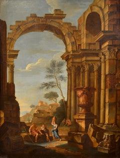 Capriccio Architectural Paint Oil on canvas 18th Century Landscape Roman
