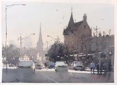 Evening rush hour Joseph Zbukvic cityscape watercolor