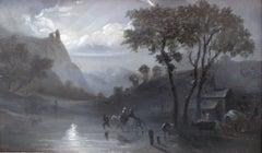 River crossing at moonlight