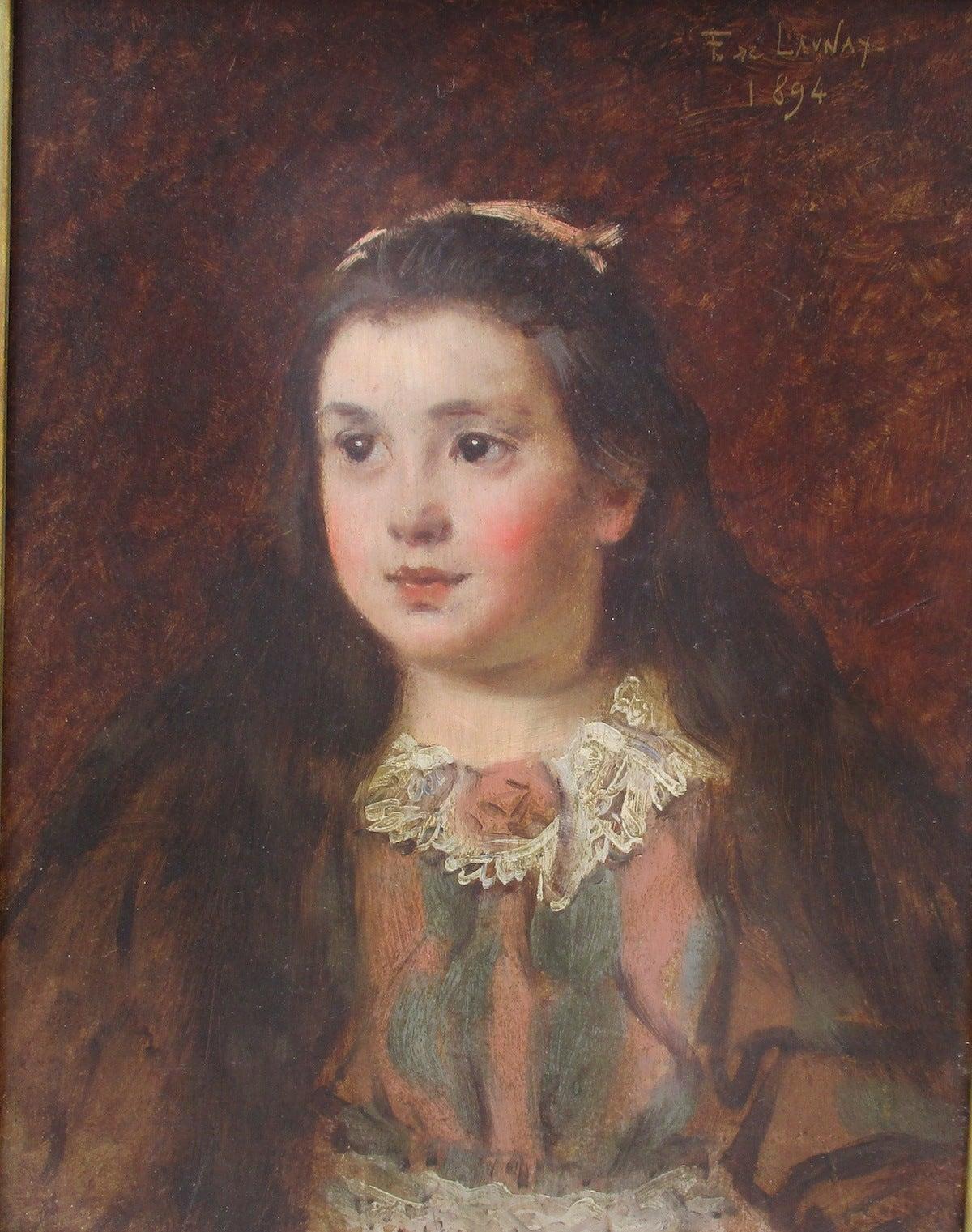 Impressionist portrait oil painting Little Girl Paris 19thC French Belle Epoque