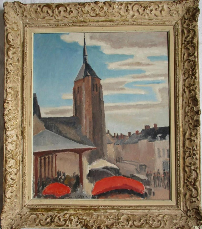 Market day in a country town on the Loire - Painting by Maurice Asselin