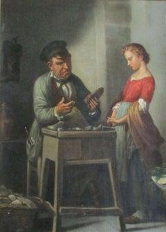 At the Cobblers': German Biedermeier oil