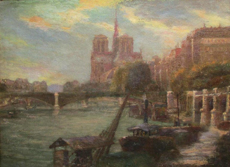 Paris Notre Dame Cathedral and the Seine in Summer evening light  - Gray Landscape Painting by Unknown