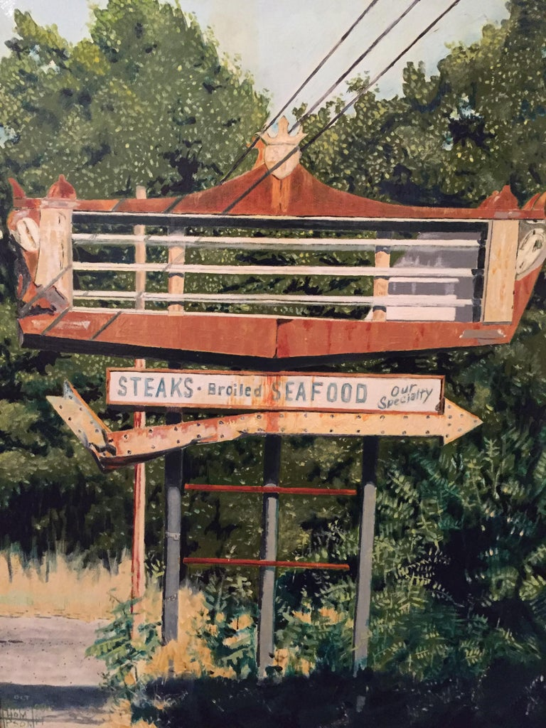 An astonishing work of photorealism. I think it speaks for itself, right? In fact, it's probably hard to tell from the pics that it's not a photograph. The artist, Jim Thomson, has painted a quaint rural scene along Route 30 in Pennsylvania,