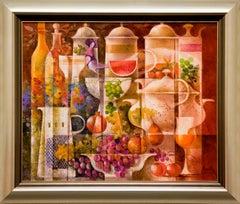 """Surrealist Painting """"Ceramicas con Pajaro, Frutas y Flores"""" by Josep Baques"""