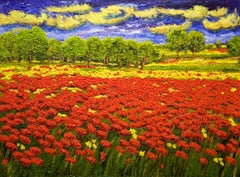 """Highly Textured Landscape """"Amapolas"""" by Maria Amparo"""