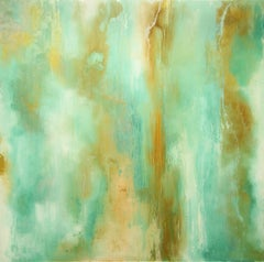 """Liquid Gold"" Abstract on Plexiglass by Katherine Houston"