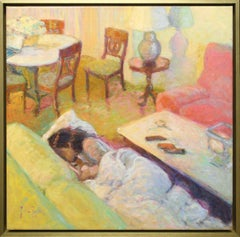 """Domestic Interior """"Afternoon Nap"""" Oil on Canvas by Rosa Ripoll"""