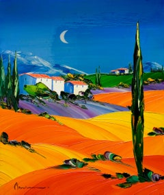 """""""Les Cypres"""" Colorful Oil on Canvas by Monika Meunier"""