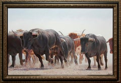"""Marching Bulls"" 30 x 46 inch Oil on Canvas by Manuel Higueras"