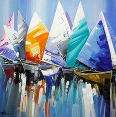 """""""Full Sails"""" Acrylic on Canvas 40 x 40 inches by Fernando Aracil"""