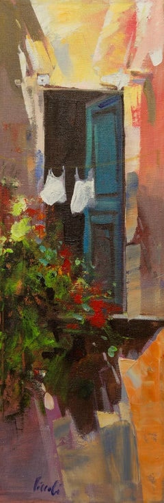 """""""Panni Stesi (Clothes Hanging)"""" by Italian Painter Pietro Piccoli 24 x 8 inches"""