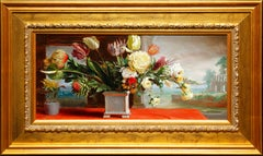 """""""Still Flowers"""" by Hans Laagland 11 x 23 inches Oil on Board"""