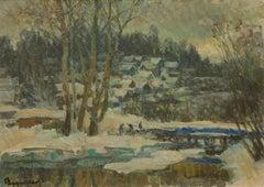 """Town Ples, Blue Ridge"" by Oleg Ardmasov 20 x 28 inch Oil on Canvas"
