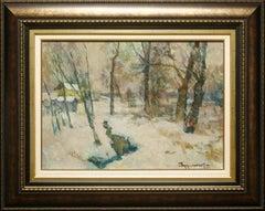 """""""Winter Creek"""" by Oleg Ardmasov 20 x 28 inch Oil on Canvas"""
