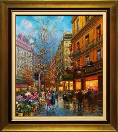 """Fresh Flowers for Sale"" 28 x 24 Inch Oil on Canvas by Emilio Payes"