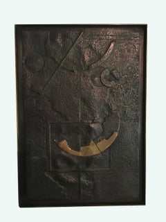 Sun City by Italian Walter Valentini Abstract Patinated Cast Bronze Panel 1985