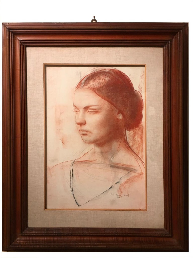 'Young lady' by Pietro Annigoni Red Pastel Woman Portrait on Paper 1970