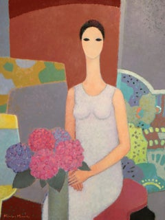Kimiyo MASUDA, Painting Young Women with Bouquet of Flowers, 1988.