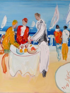 """Jean-Louis DUBUC, painting """"Lunch in Cannes"""", 1980s."""