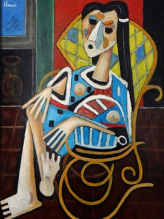 """Roland CHANCO (1914-2017), Painting """"Women with Rocking Chair"""", 1975"""