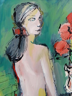 "Mario BONAMICI, Painting ""The Model with the Vase of Flowers"", 1980"