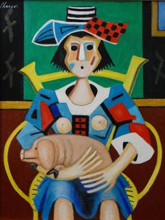 "Roland CHANCO (1914-2017), Painting ""Piglet"", 2000."