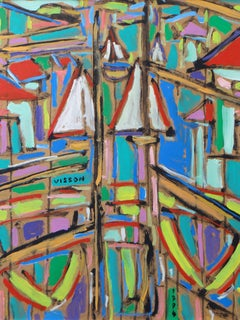 "Philippe VISSON (1942-2008), painting ""Window on the harbor"", 1994"
