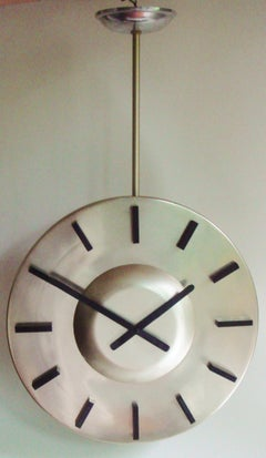 Large German Space Age Anodized Aluminum, Twin-Faced & Ceiling-Mounted Clock.