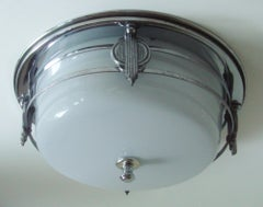 American Art Deco Flush Mount Ceiling Lamp with Decorative Chrome Cage & Finial