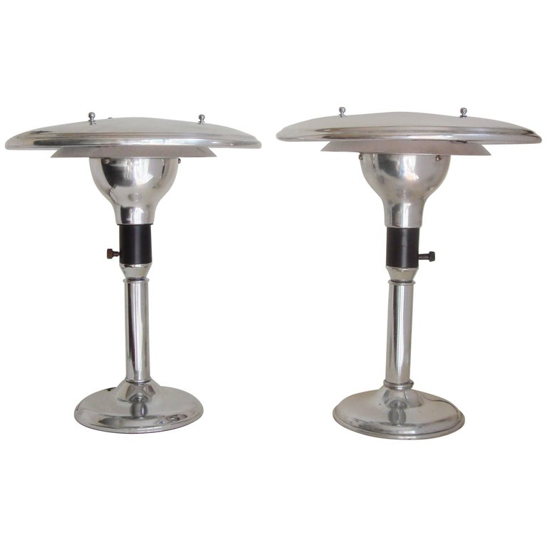 Pair of American Art Deco Chrome and Black Restored M.G. Wheeler Sight lights For Sale