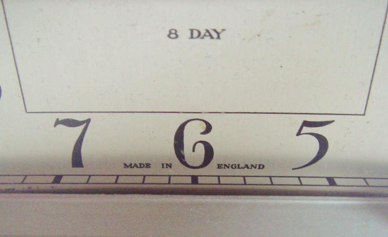 Plated English Art Deco, Chrome, Wood and Polychromed Veneer Ziggurat Mantle Clock For Sale