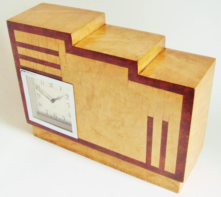 Great Britain (UK) English Art Deco, Chrome, Wood and Polychromed Veneer Ziggurat Mantle Clock For Sale