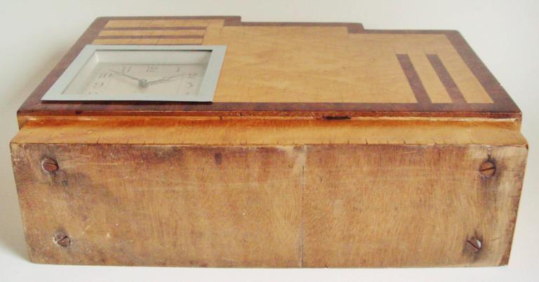 Birdseye Maple English Art Deco, Chrome, Wood and Polychromed Veneer Ziggurat Mantle Clock For Sale