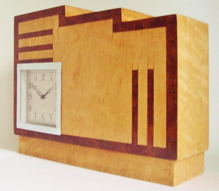 Mid-20th Century English Art Deco, Chrome, Wood and Polychromed Veneer Ziggurat Mantle Clock For Sale