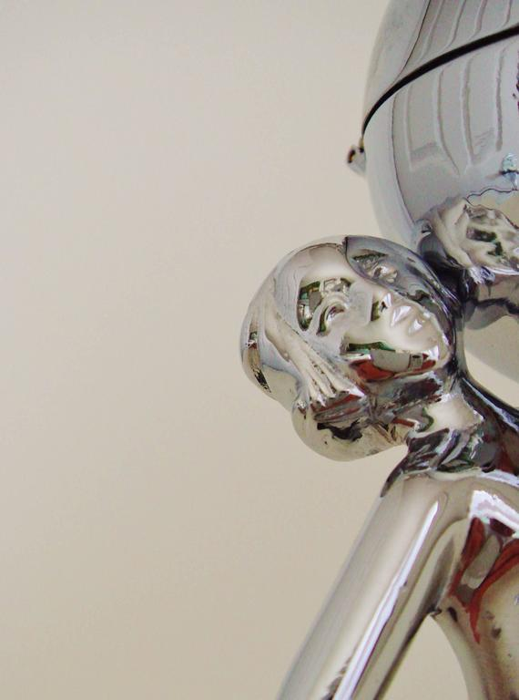 Great Britain (UK) English Art Deco Chrome & Vitrolite Marching Nude Wheel & Flint Table Lighter. For Sale